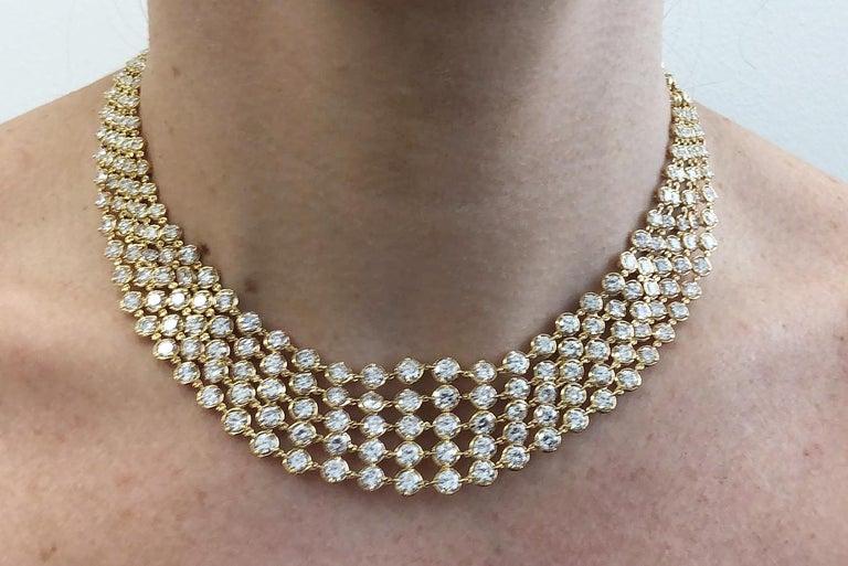 Women's Van Cleef & Arpels Five-Row Diamond Link Necklace For Sale
