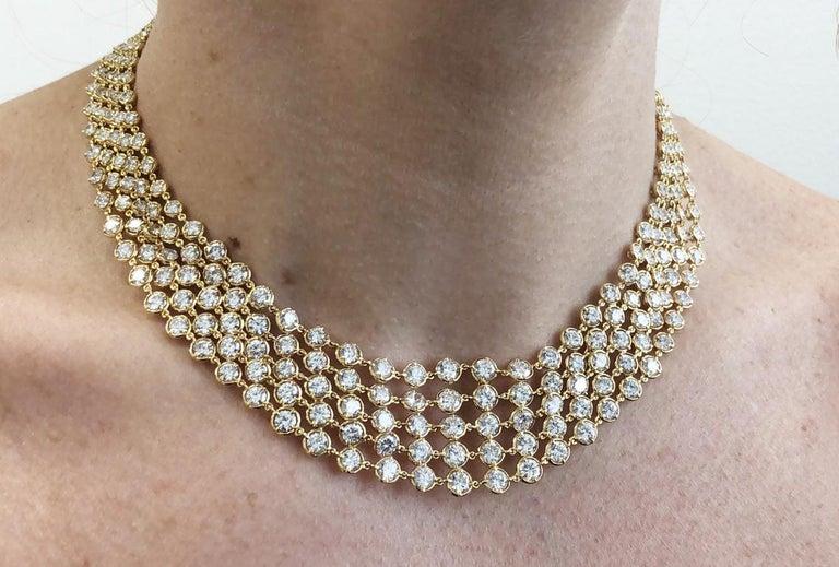 Van Cleef & Arpels Five-Row Diamond Link Necklace For Sale 1