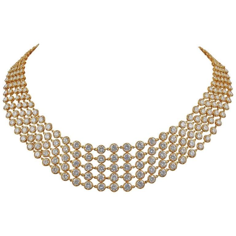 Van Cleef & Arpels Five-Row Diamond Link Necklace For Sale