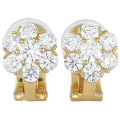Van Cleef & Arpels Fleurette 18 Karat Yellow Gold 1.50 Carat Diamond Earrings