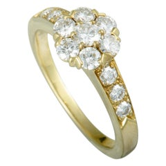 Van Cleef & Arpels Fleurette 18 Karat Yellow Gold Diamond Flower Ring