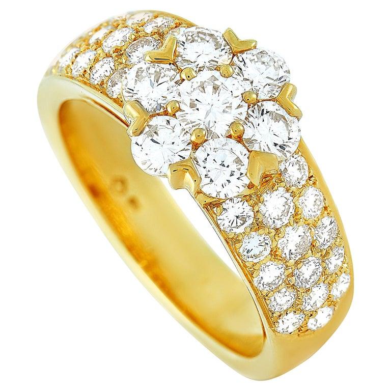 Van Cleef & Arpels Fleurette 18 Karat Yellow Gold 1.50 Carat Diamond Ring