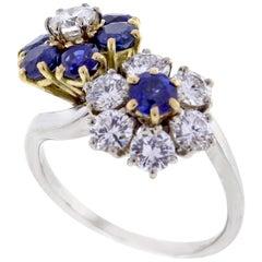 Van Cleef & Arpels Fleurette Diamond and Sapphire Double Flower Yellow Gold Ring