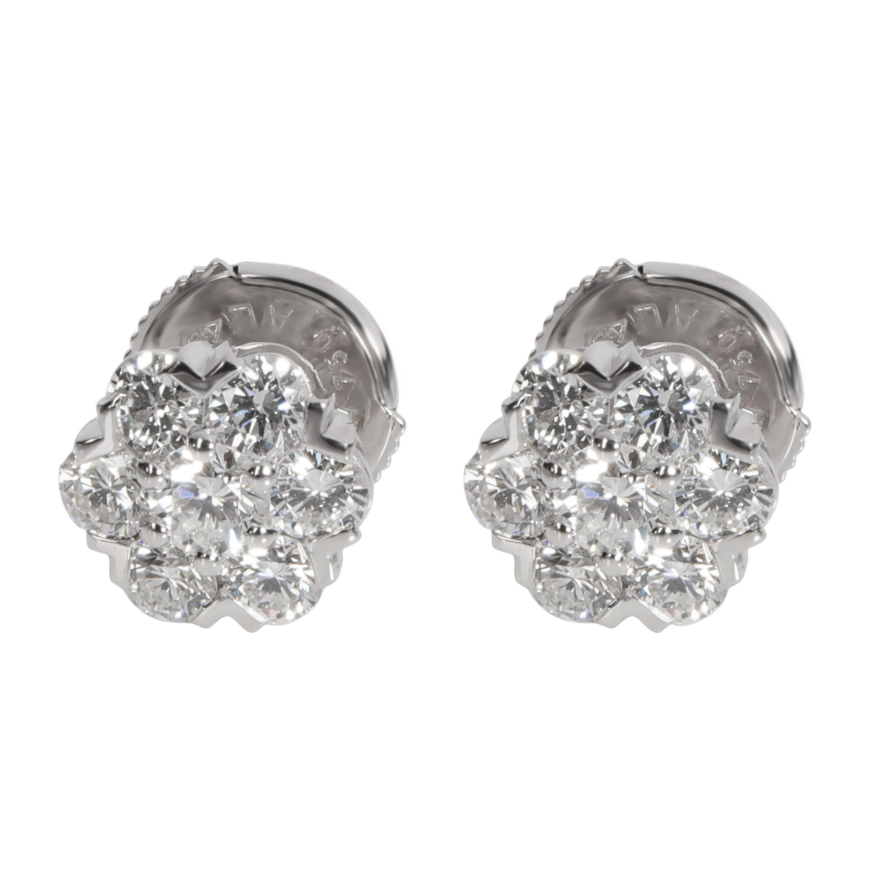 Van Cleef & Arpels Fleurette Diamond Earring in 18K White Gold 1.00 CTW