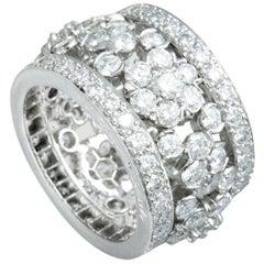 Van Cleef & Arpels Fleurette Platinum Full Diamond Pave Wide Band Ring