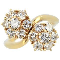 Van Cleef & Arpels Fleurette Ring Double Flower Motif 18 Karat Yellow Gold