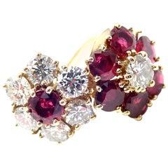 Van Cleef & Arpels Fleurette Ruby Diamond Double Flower Yellow Gold Ring
