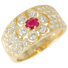 Van Cleef & Arpels Floral Ruby and Diamond Ring, 18 Karat, with Original VCA Box