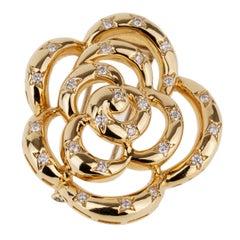 Van Cleef & Arpels Blume Diamant Gold Brosche