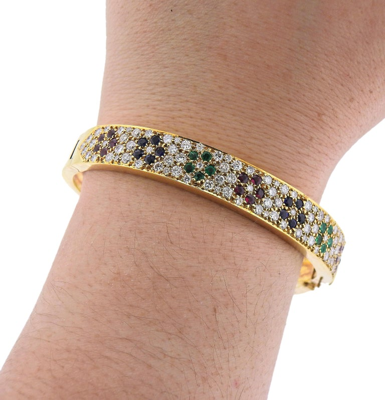 Van Cleef & Arpels Flower Emerald Sapphire Ruby Diamond Gold Bangle Bracelet For Sale 2