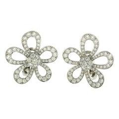 Van Cleef & Arpels Flowerlace Diamond Large Flower Earrings in White Gold
