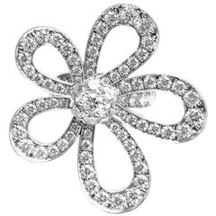 Van Cleef & Arpels Flowerlace Diamond Large White Gold Ring