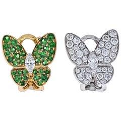 Van Cleef & Arpels  Flying Beauties Diamonds and Tsavorite Butterfly Earrings