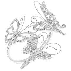 "Van Cleef & Arpels"" Flying Butterfly"" Bracelet Small Set in 18 Karat White Gold"