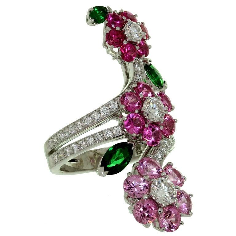 Van Cleef & Arpels Folie des Près Pink Sapphire Diamond White Gold Ring For Sale 2