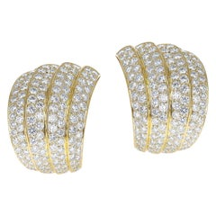 Van Cleef & Arpels Four Curve Cocktail Earrings with 12 Ct. Diamonds, 18k Yellow