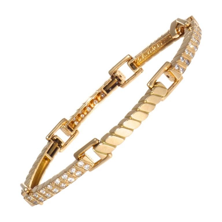 Van Cleef & Arpels France 18 Karat Diamond Gold Bracelet For Sale