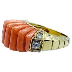Van Cleef & Arpels France 18 Karat Yellow Gold Coral and Diamond Ladies Ring