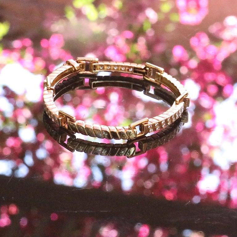 Van Cleef & Arpels France 18 Karat Diamond Gold Bracelet In Excellent Condition For Sale In Beverly Hills, CA