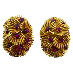 Van Cleef & Arpels France 18k Yellow Gold and Ruby Flower Clip-On Earrings w/Box