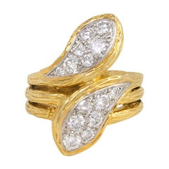 Van Cleef & Arpels, France 1970s Gold and Diamond Double Serpent Ring