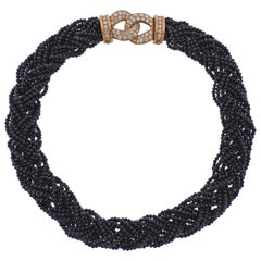 Van Cleef & Arpels France 1980s Onyx Diamond Gold Braided Necklace