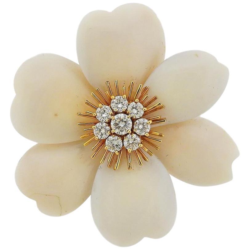 Van Cleef & Arpels France Coral Diamond Gold Brooch