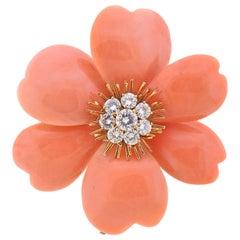 Van Cleef & Arpels France Coral Diamond Gold Flower Brooch Pin