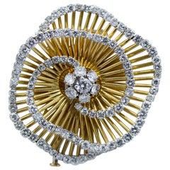 Van Cleef & Arpels France, Diamond and 18 Karat Gold Flower Brooch
