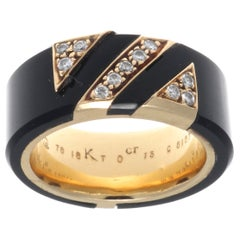 Van Cleef & Arpels France Diamond Onyx 18 Karat Gold Ring