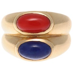 Van Cleef & Arpels France Lapis Coral Gold Ring