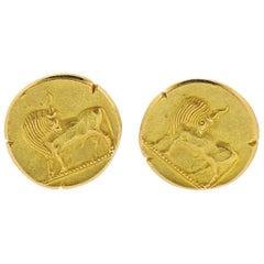 Van Cleef & Arpels France Taurus Zodiac Sign Gold Cufflinks