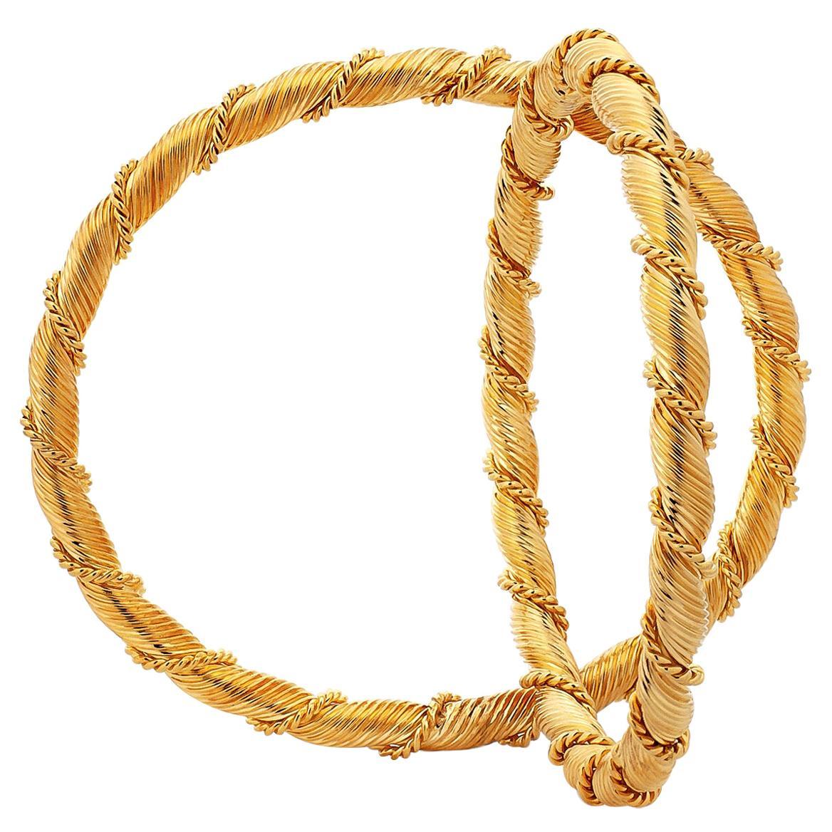 Van Cleef & Arpels France Vintage Twisted Gold Bangle Bracelets