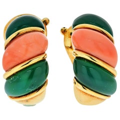 Van Cleef & Arpels French 18 Karat Yellow Gold Coral Clip-On Earrings