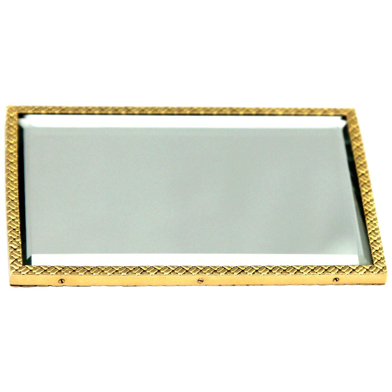 Van Cleef & Arpels, French Mirror in 18 Carat Yellow Gold Patterned Perimeter