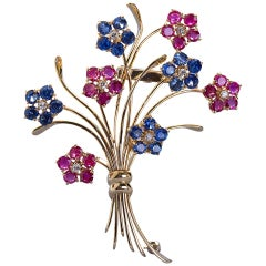 Van Cleef & Arpels French Ruby Sapphire Flower Bouquet Brooch