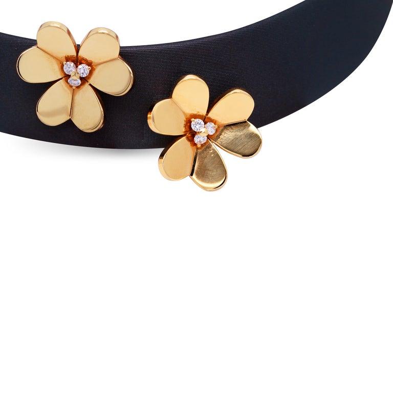 Contemporary Van Cleef & Arpels Frivole 18 Karat Yellow Gold Diamond Collar Choker Necklace For Sale