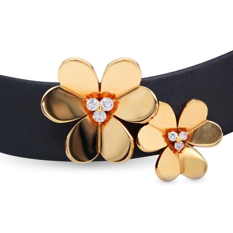 Round Cut Van Cleef & Arpels Frivole 18 Karat Yellow Gold Diamond Collar Choker Necklace For Sale