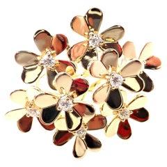 Van Cleef & Arpels Frivole 8 Flower Diamond Yellow Gold Ring