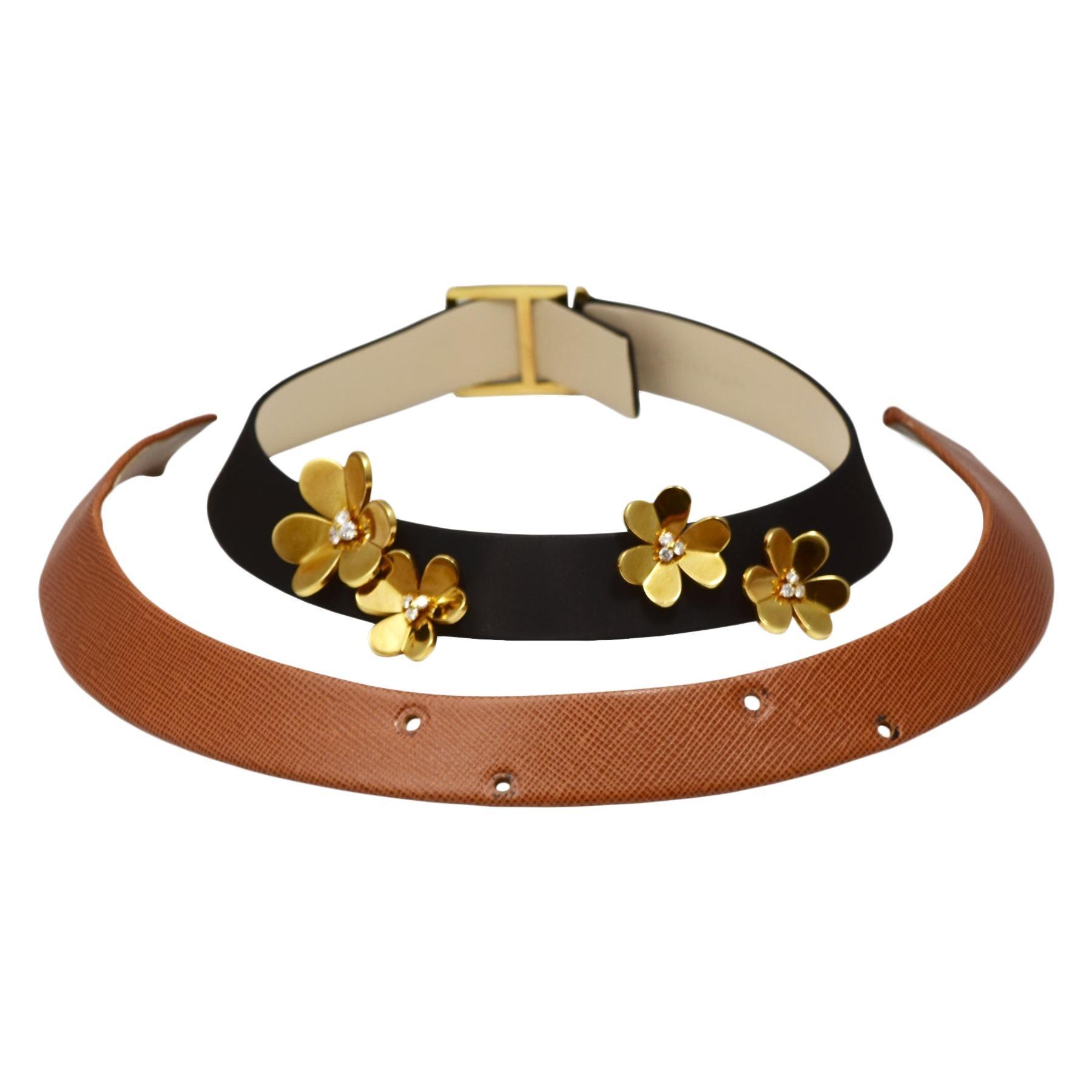 Van Cleef & Arpels Frivole Diamond 18k Yellow Gold Leather Choker