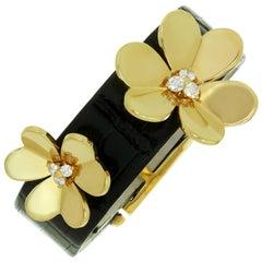 Van Cleef & Arpels Frivole Diamond Yellow Gold Crocodile Strap Bracelet