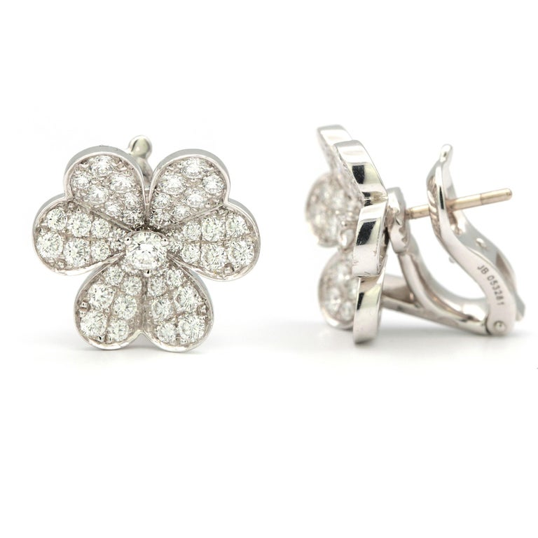 Contemporary Van Cleef & Arpels Frivole Earrings with White Diamonds and 18 Karat White Gold For Sale