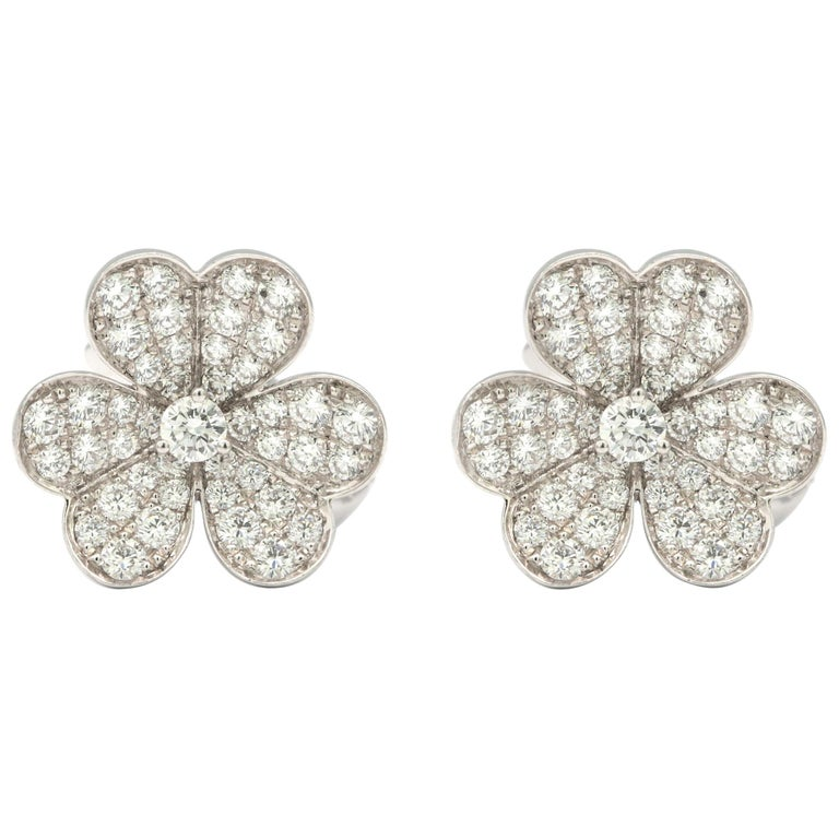 Van Cleef & Arpels Frivole Earrings with White Diamonds and 18 Karat White Gold For Sale