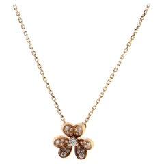 Van Cleef & Arpels Frivole Pendant Necklace 18K Rose Gold with Pave Diamonds
