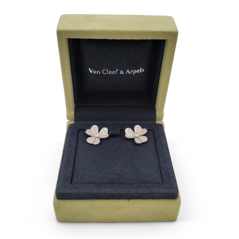 Van Cleef & Arpels 'Frivole' White Gold and Diamond Earrings, Small Model For Sale 4
