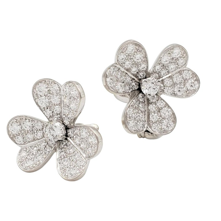 Van Cleef & Arpels 'Frivole' White Gold and Diamond Earrings, Small Model For Sale