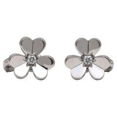 Van Cleef & Arpels Frivole White Gold Diamond Earrings, Small Model