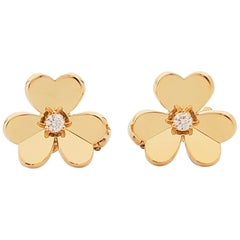 Van Cleef & Arpels 'Frivole' Yellow Gold and Diamonds Earrings, Small Model