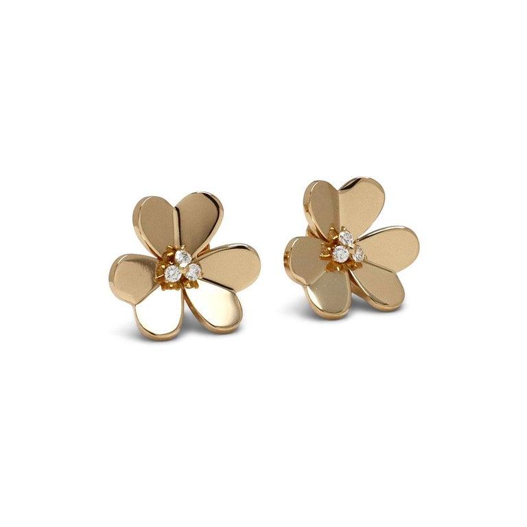Round Cut Van Cleef & Arpels 'Frivole' Yellow Gold Diamond Earrings, Large Model For Sale