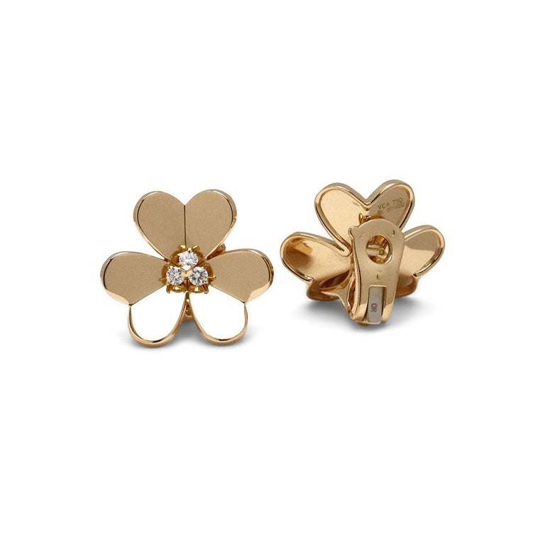 Van Cleef & Arpels 'Frivole' Yellow Gold Diamond Earrings, Large Model In Excellent Condition For Sale In New York, NY
